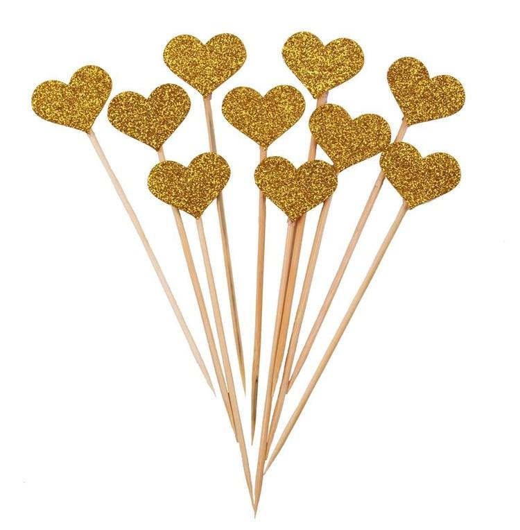 Alles voor taarten glitter gold heart topper pk 10 stuks for Eetbaar goud