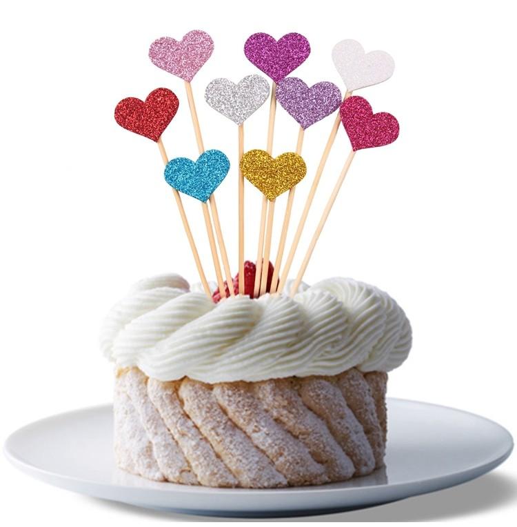alles voor taarten glitter heart cake topper pk 10stuks alles voor taarten. Black Bedroom Furniture Sets. Home Design Ideas